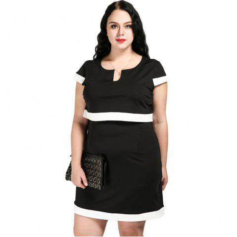 Latest Cute Ann Women's Sexy V-neck Black And White Block Plus Size Two Piece Vintage Dress