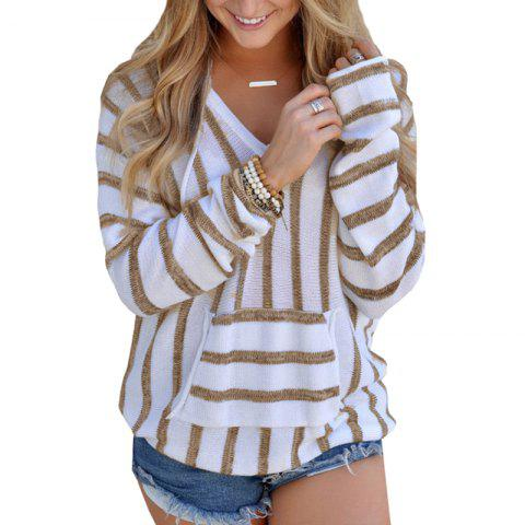 Cheap Hooded  Casual Stripe Sweater