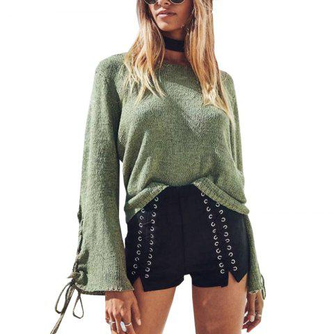 Discount Round Neck Lace Up Sweater