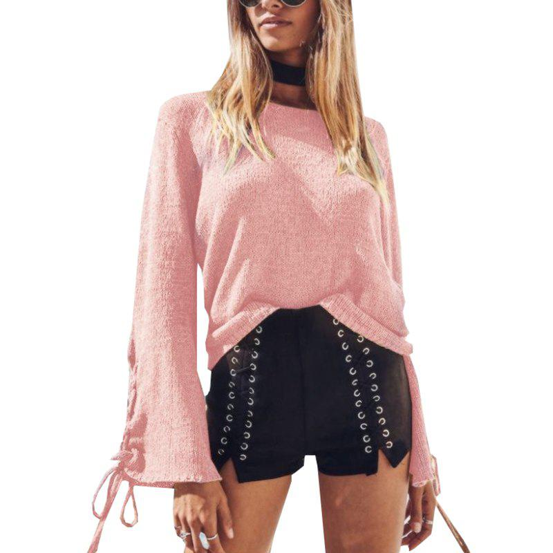 Chic Round Neck Lace Up Sweater