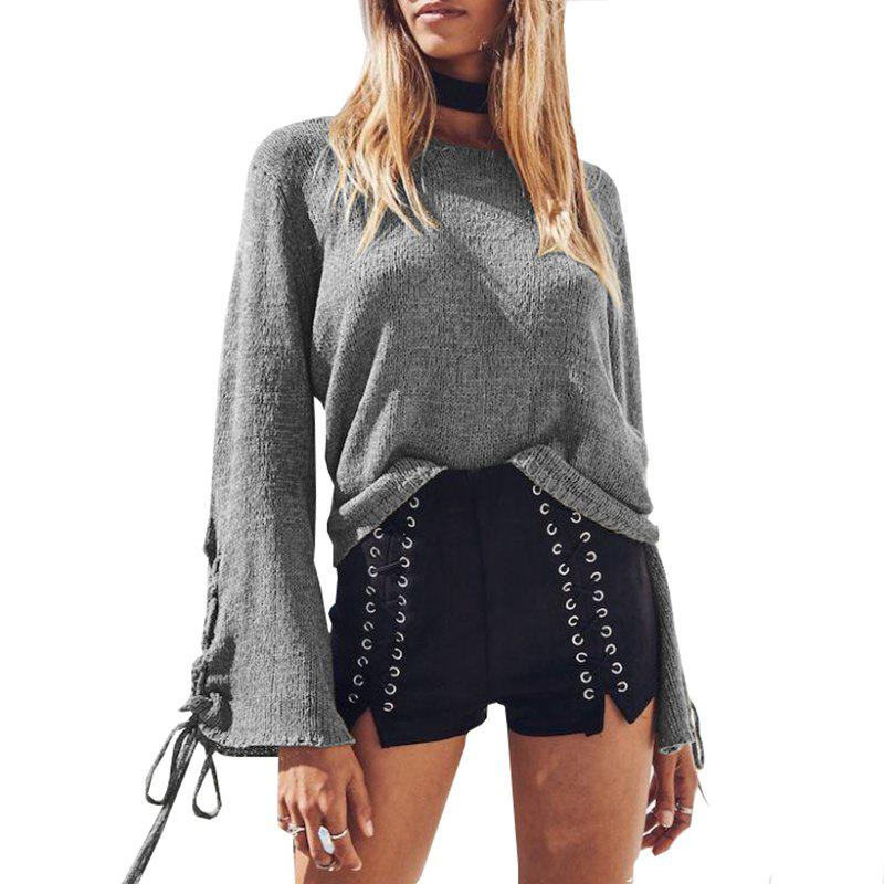 Best Round Neck Lace Up Sweater
