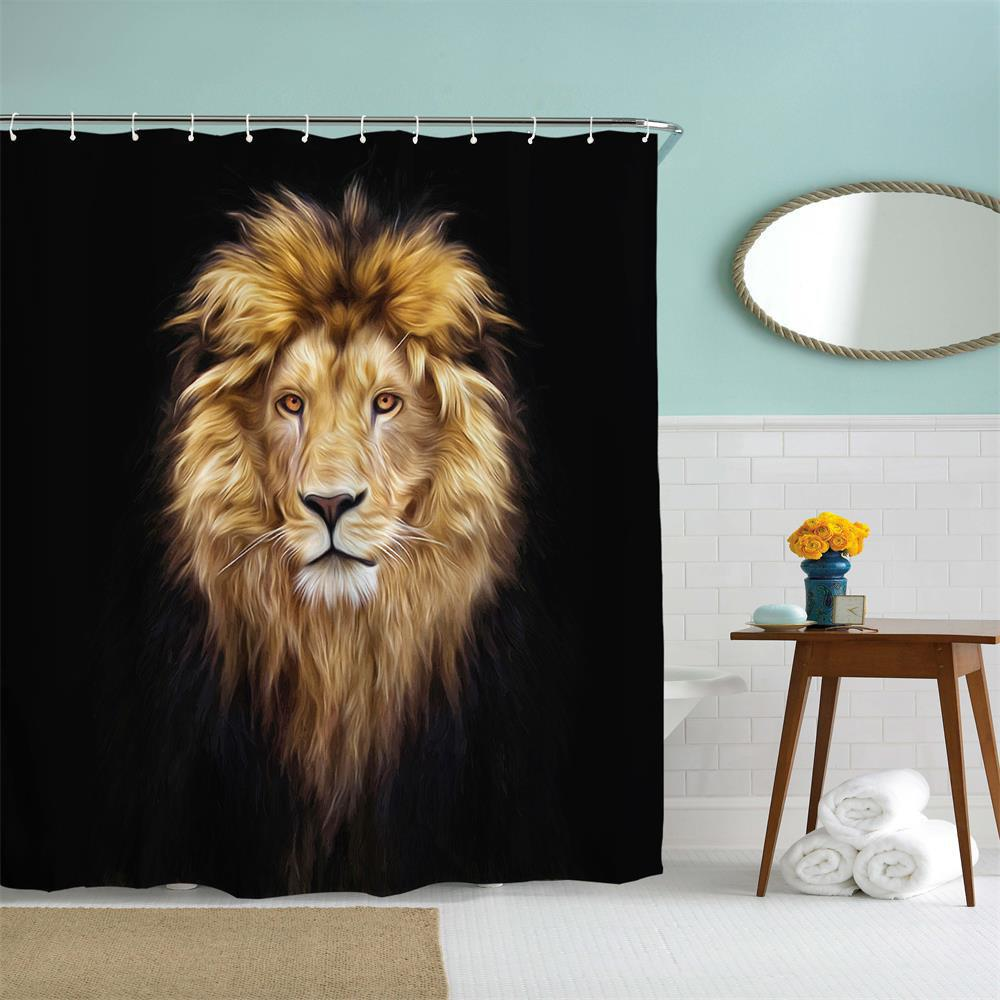 Golden Lion King Polyester Shower Curtain Bathroom Curtain High Definition 3D Printing Water-Proof