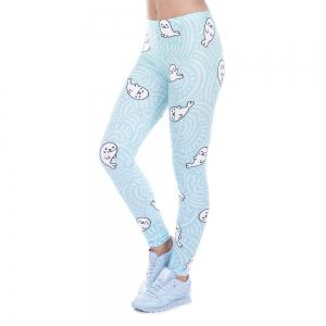 High Quality Lovely Sea Lions 3D Printing Casual Pants Womens Leggings Yoga Pants -