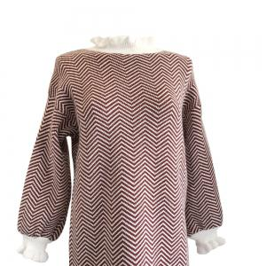 Restoring Ancient Turtleneck Loose Show Thin Corrugated Knitted Dress -