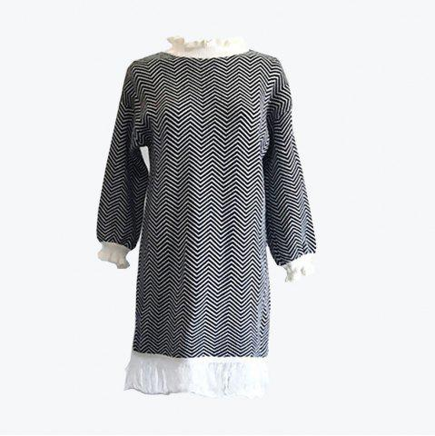 Affordable Restoring Ancient Turtleneck Loose Show Thin Corrugated Knitted Dress