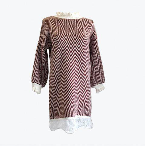 New Restoring Ancient Turtleneck Loose Show Thin Corrugated Knitted Dress