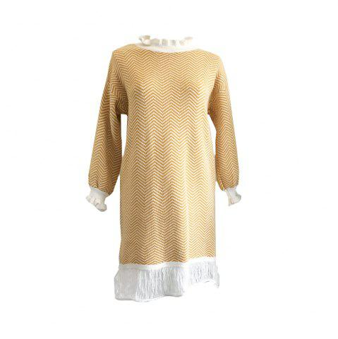Store Restoring Ancient Turtleneck Loose Show Thin Corrugated Knitted Dress