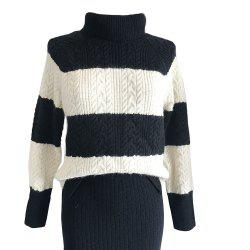 Retro Harajuku Wide Stripe Turtleneck Sweater -