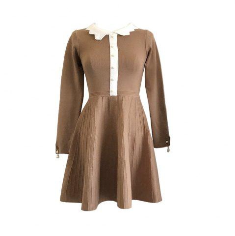 Affordable Socialite Gentlewoman Small Sweet Wind Pearl  Long Sleeve knit Dress
