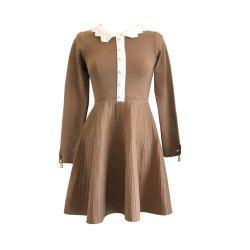 Socialite Gentlewoman Small Sweet Wind Pearl  Long Sleeve knit Dress -