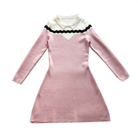 Loveliness Temperament Sweet Wave - Robe en maille à manches longues