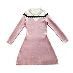 Loveliness Temperament Sweet Wave - Robe en maille à manches longues -