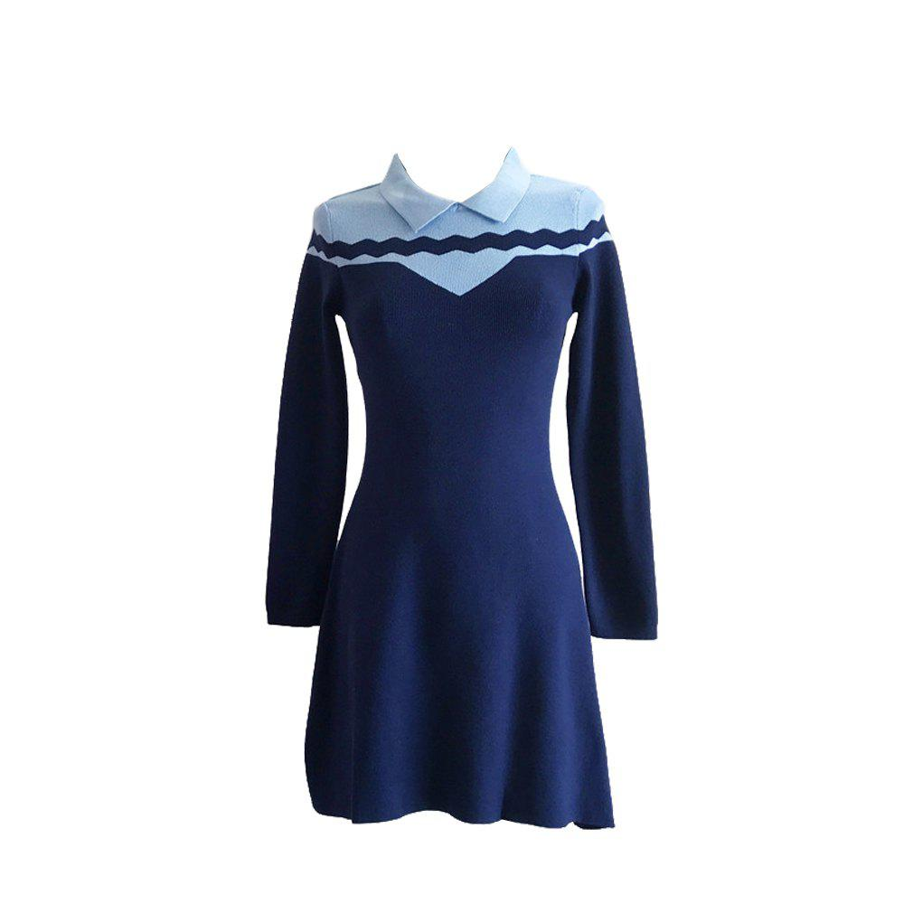 Trendy Loveliness Temperament Sweet Wave Long Sleeve Knit Dress