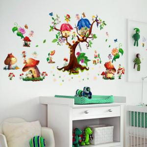 ... M9272 Mushroom House Wall Stickers PVC Large Trees Fairy Wall Decals  For Baby Room ...