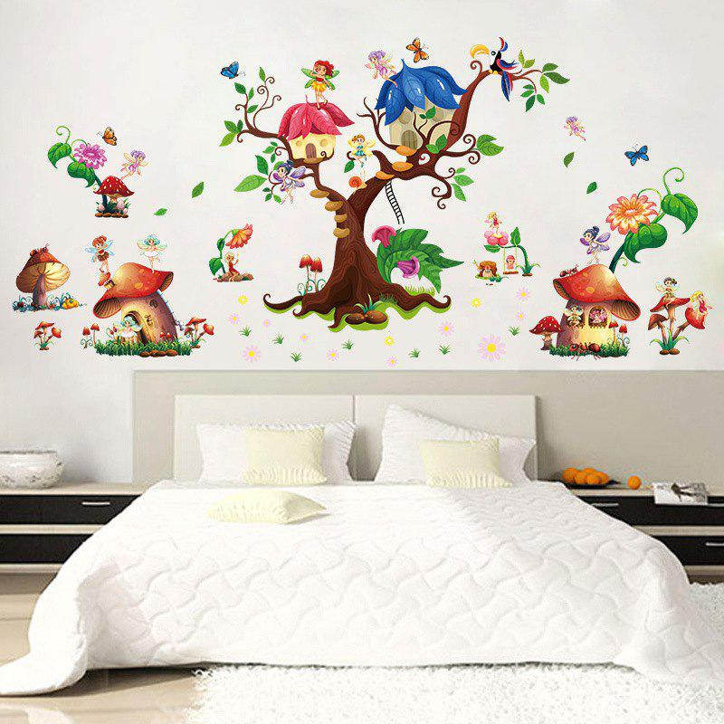 Attractive Latest M9272 Mushroom House Wall Stickers PVC Large Trees Fairy Wall Decals  For Baby Room