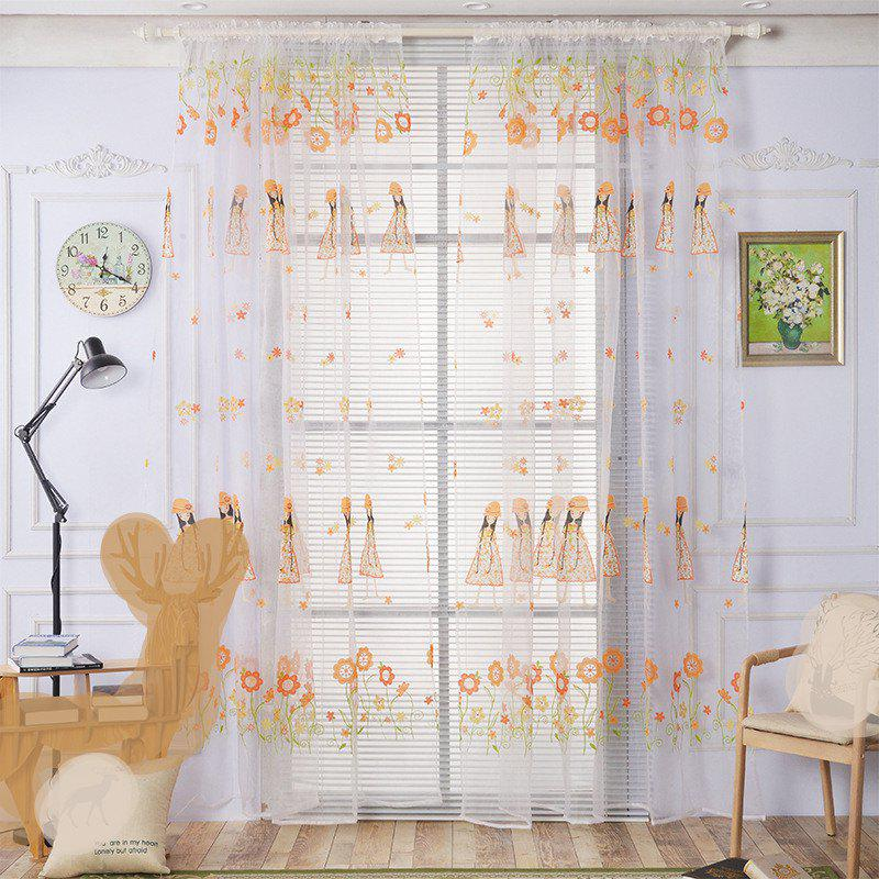 Outfit 2pcs 100cm x 200cm Creative European Simple Bright Flowers and Girl Pattern Thin Sheer Curtain