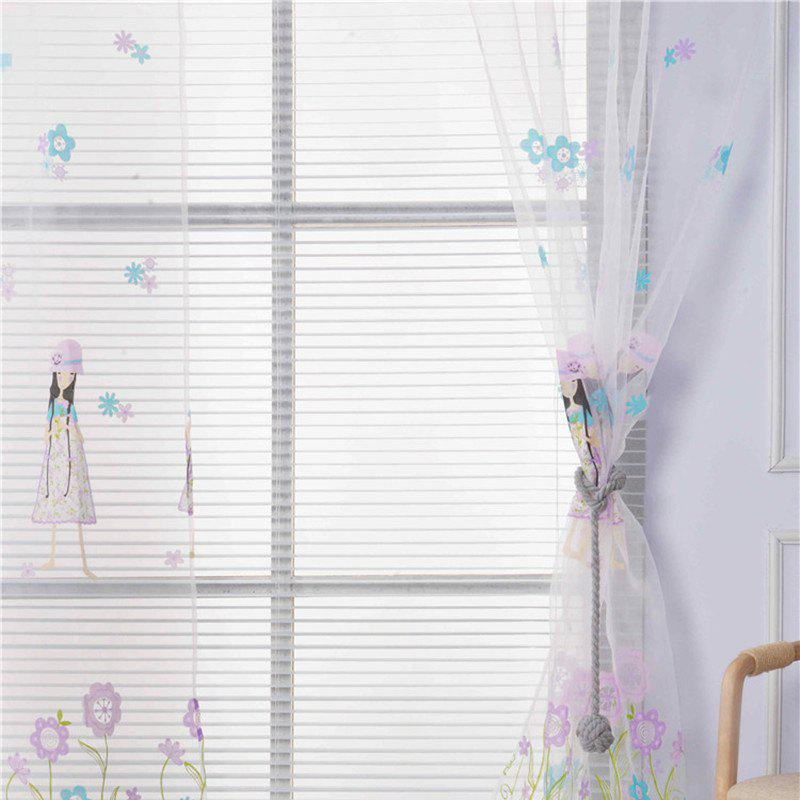 Chic 2pcs 100cm x 200cm Creative European Simple Bright Flowers and Girl Pattern Thin Sheer Curtain