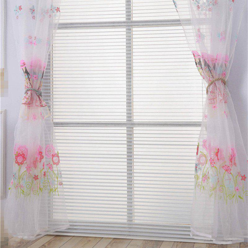 New 2pcs 100cm x 200cm Creative European Simple Bright Flowers and Girl Pattern Thin Sheer Curtain