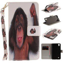 Cover Case for LG Xpower Monkey PU+TPU Leather with Stand and Card Slots Magnetic Closure -