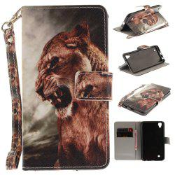 Cover Case for LG Xpower A Male Lion PU+TPU Leather with Stand and Card Slots Magnetic Closure -