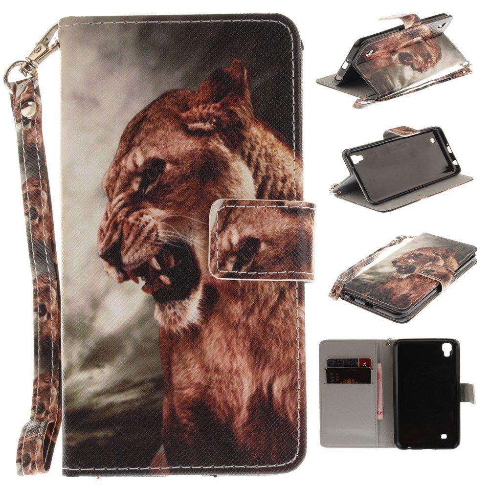 Trendy Cover Case for LG Xpower A Male Lion PU+TPU Leather with Stand and Card Slots Magnetic Closure