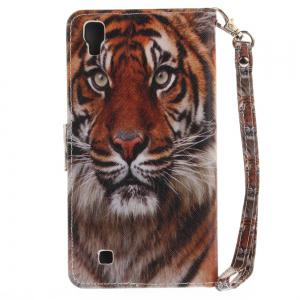 Cover Case for LG Xpower Manchurian Tiger PU+TPU Leather with Stand and Card Slots Magnetic Closure -
