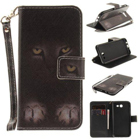 New Cover Case for Samsung Galaxy J3 2017 Mystery Cat PU+TPU Leather with Stand and Card Slots Magnetic Closure