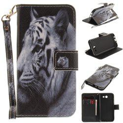 Cover Case for Samsung Galaxy J3 2017 The White Tiger PU+TPU Leather with Stand and Card Slots Magnetic Closure -