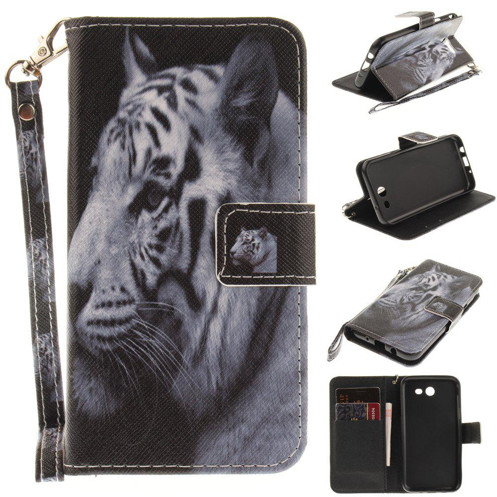 Latest Cover Case for Samsung Galaxy J3 2017 The White Tiger PU+TPU Leather with Stand and Card Slots Magnetic Closure