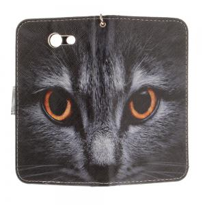 Cover Case for Samsung Galaxy J3 2017 Half A Face of A Cat PU+TPU Leather with Stand and Card Slots Magnetic Closure -