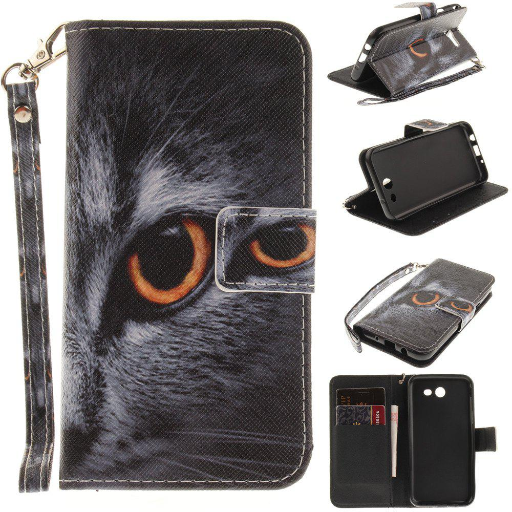 Online Cover Case for Samsung Galaxy J3 2017 Half A Face of A Cat PU+TPU Leather with Stand and Card Slots Magnetic Closure