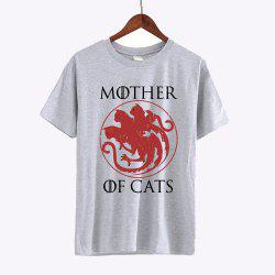 Mother of Cats Letter Print T-shirts Women 2017 Cotton Short Sleeve Tshirts -