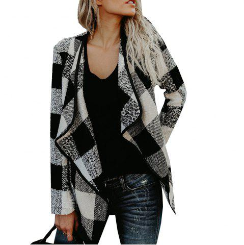 Trendy Lapel Plaid  Slim Wool Coat