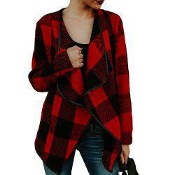 Lapel Plaid Slim Laine Manteau -