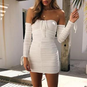 Off Shoulder Sexy Long Sleeve Ruched Mini Dress -