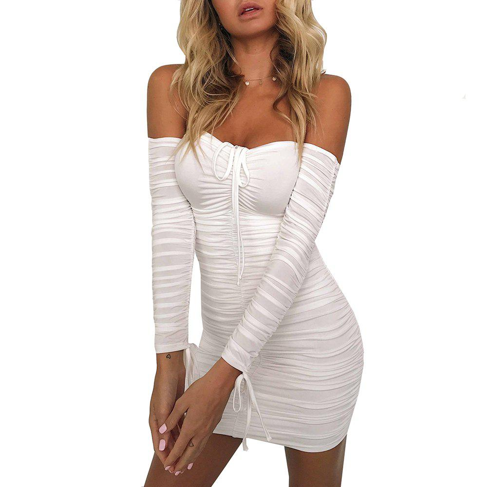 Best Off Shoulder Sexy Long Sleeve Ruched Mini Dress