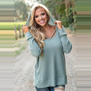 Hooded Casual Knit Sweater -