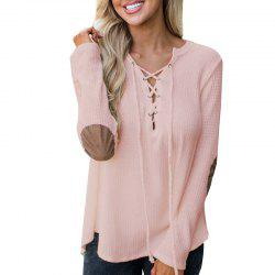 V Neck Casual Patchwork Knit Sweater -