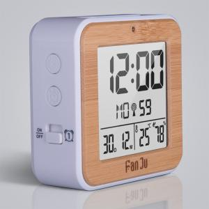 FJ3533 LCD Digital Alarm Clock with Indoor Temperature and Humidity,Dual Alarm,Battery Operated,Snooze,Date,Alarm -