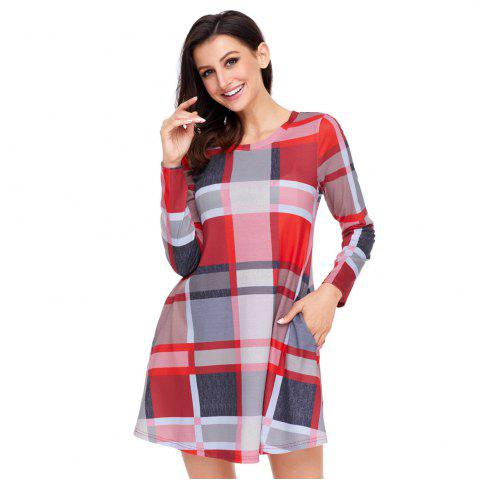 Online Multicolor Plaid Mini Dress