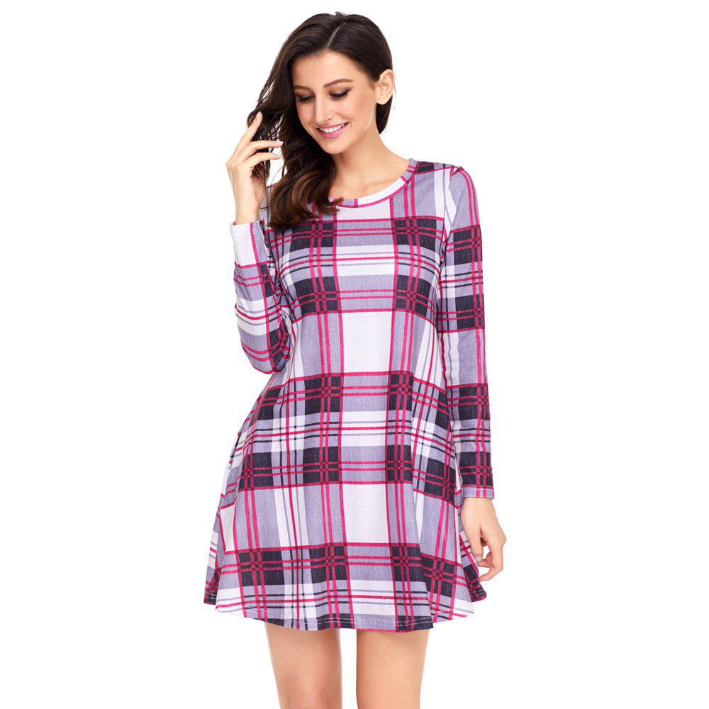 Latest Multicolor Plaid Mini Dress