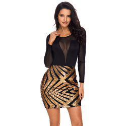 Mesh Long Sleeve Champagne Club Dress -