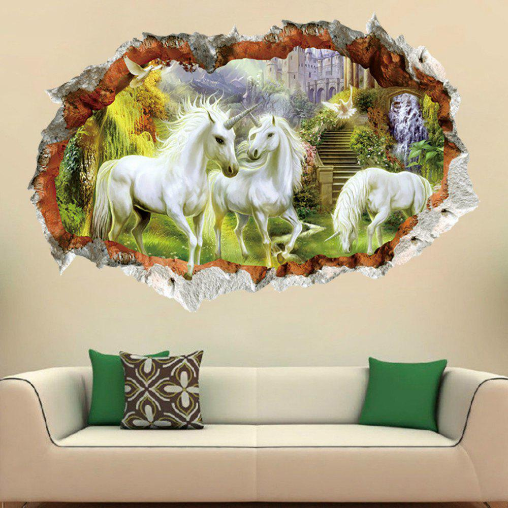 2018 Unicorn Wall Sticker 3d Broken Window Mural Home Decor In White