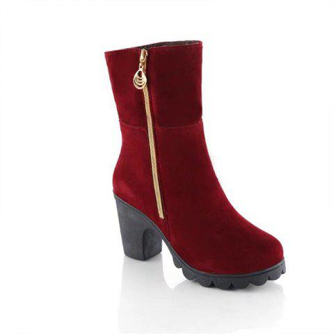 clearance classic Chunky Heel Suede Zipper Boots - Red 37 brand new unisex cheap online outlet supply sale exclusive vPJmHZiG6