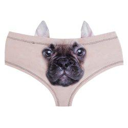 Fashion Animal Ear Underwear French Bulldog 3D Printing Sexy Panties Woman Underwear -