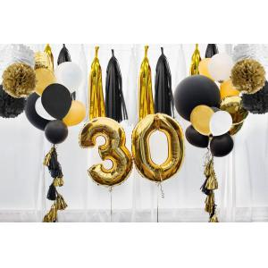 Set of 14 Pcs Mixed Gold black and white color Paper lanterns Paper balls Paper Pom Poms Themed Party Hanging Decor Favor -
