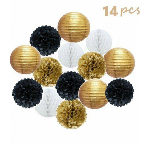 Outfit Set of 14 Pcs Mixed Gold black and white color Paper lanterns Paper balls Paper Pom Poms Themed Party Hanging Decor Favor