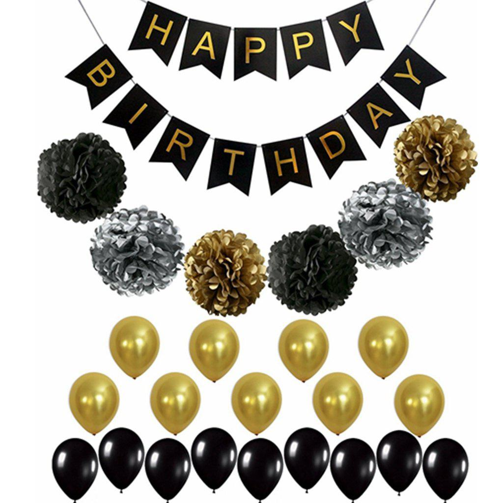 Outfits BLACK and GOLD PARTY DECORATIONS Perfect Adult Birthday Decorations Happy Birthday Banner Balloons and Paper Pom Poms Party Supplies for 30th, 40th, 50th, 60th Birthday Decoration