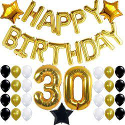 30th Birthday Party Decorations Kit Happy Birthday Letters 30th Gold Number Balloons Gold Black and White Latex Balloons Number 30 Perfect 30 Years Old Party Supplies -