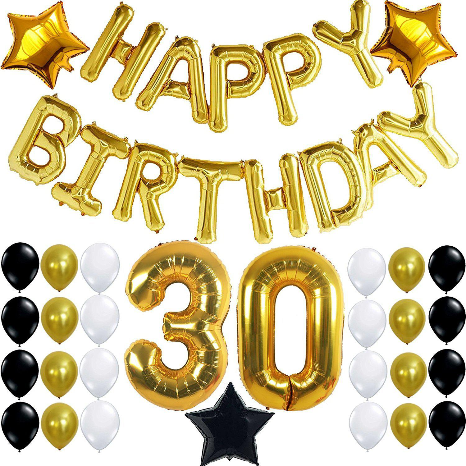 Outfit 30th Birthday Party Decorations Kit Happy Letters Gold Number Balloons Black And